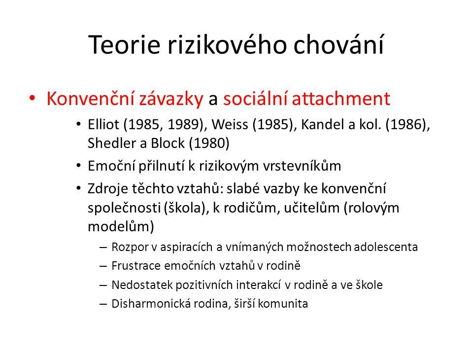 Teorie rizikového chování Konvenční závazky a sociální attachment Elliot (1985, 1989), Weiss (1985), Kandel a kol. (1986), Shedler a Block (1980) Emoč
