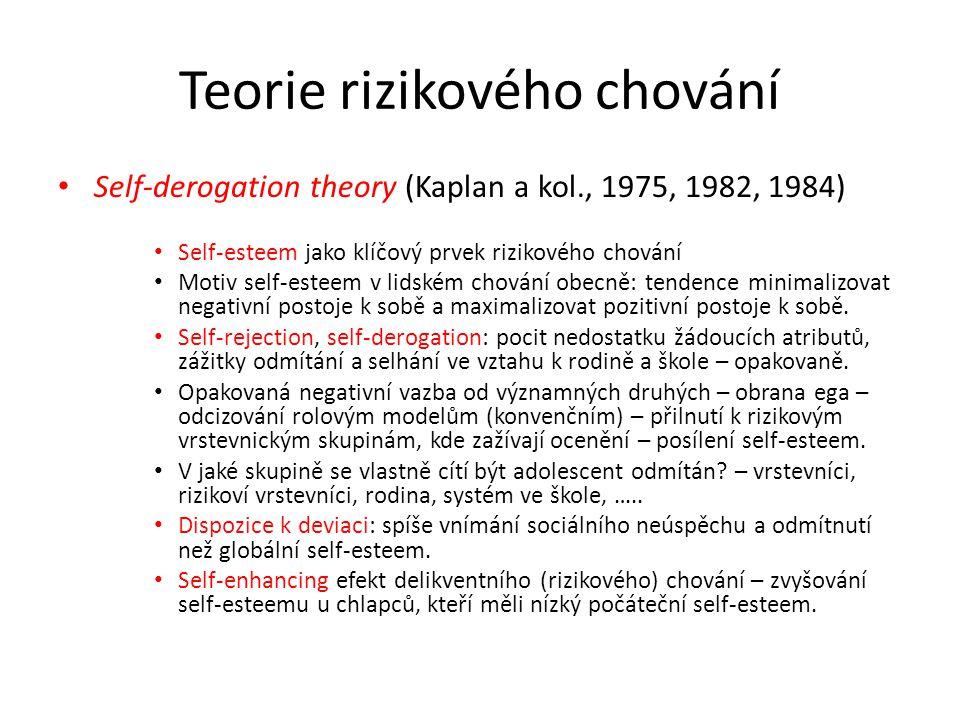 Teorie rizikového chování Self-derogation theory (Kaplan a kol., 1975, 1982, 1984) Self-esteem jako klíčový prvek rizikového chování Motiv self-esteem