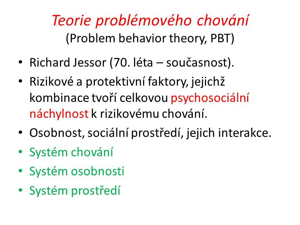 Teorie problémového chování (Problem behavior theory, PBT) Richard Jessor (70. léta – současnost). Rizikové a protektivní faktory, jejichž kombinace t