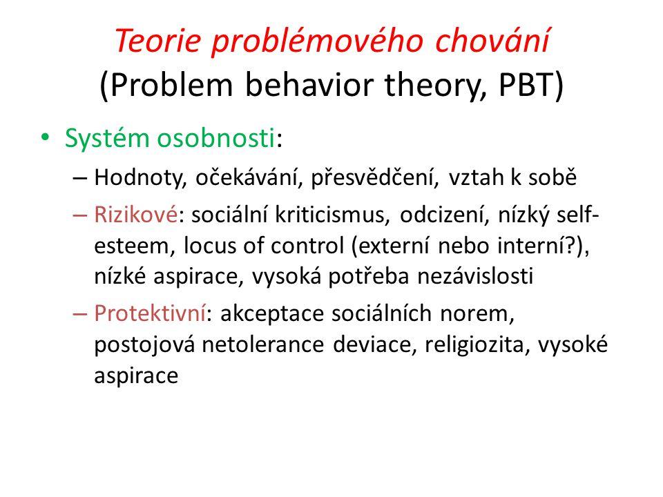 Teorie problémového chování (Problem behavior theory, PBT) Systém osobnosti: – Hodnoty, očekávání, přesvědčení, vztah k sobě – Rizikové: sociální krit