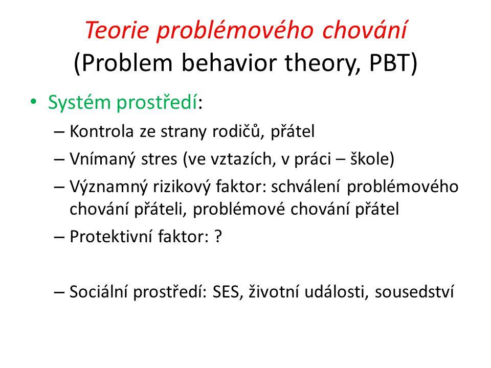 Teorie problémového chování (Problem behavior theory, PBT) Systém prostředí: – Kontrola ze strany rodičů, přátel – Vnímaný stres (ve vztazích, v práci