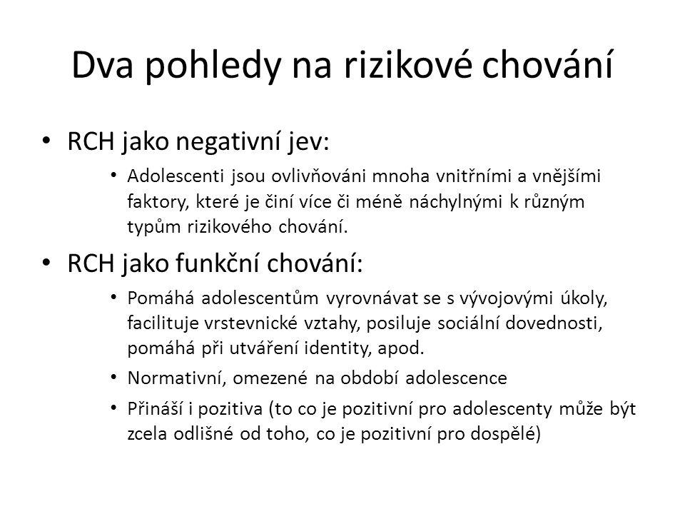 Dva pohledy na rizikové chování RCH jako negativní jev: Adolescenti jsou ovlivňováni mnoha vnitřními a vnějšími faktory, které je činí více či méně ná
