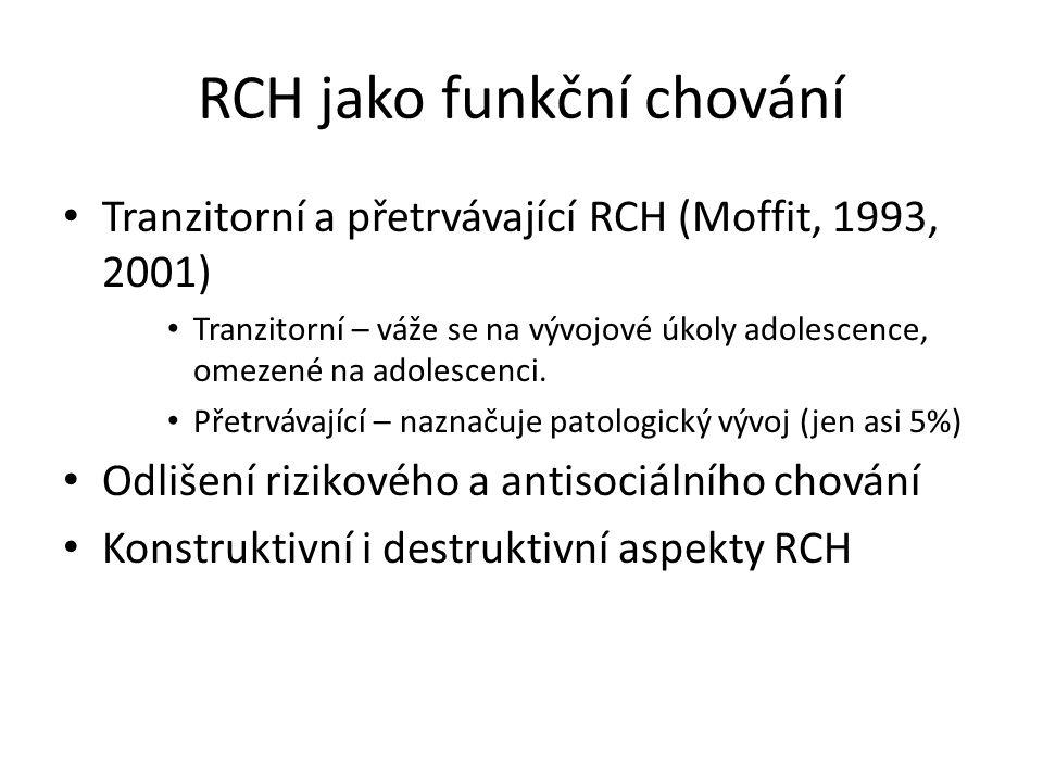 RCH jako funkční chování Tranzitorní a přetrvávající RCH (Moffit, 1993, 2001) Tranzitorní – váže se na vývojové úkoly adolescence, omezené na adolesce