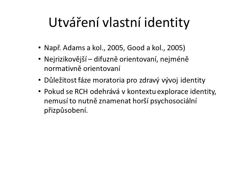 Např. Adams a kol., 2005, Good a kol., 2005) Nejrizikovější – difuzně orientovaní, nejméně normativně orientovaní Důležitost fáze moratoria pro zdravý