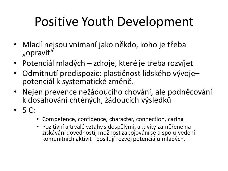 """Positive Youth Development Mladí nejsou vnímaní jako někdo, koho je třeba """"opravit"""" Potenciál mladých – zdroje, které je třeba rozvíjet Odmítnutí pred"""