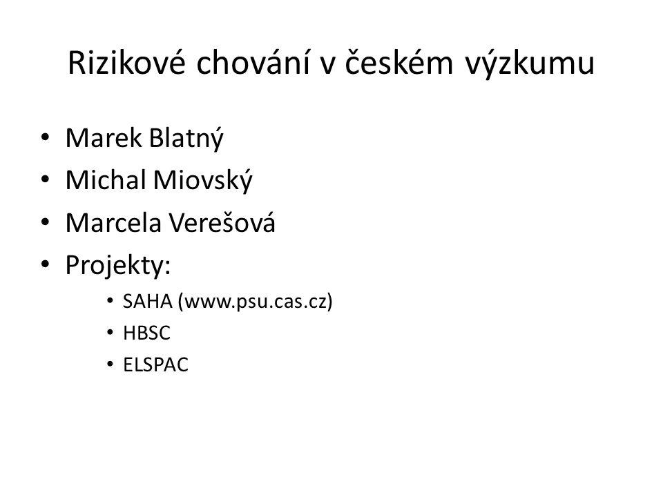 Rizikové chování v českém výzkumu Marek Blatný Michal Miovský Marcela Verešová Projekty: SAHA (www.psu.cas.cz) HBSC ELSPAC