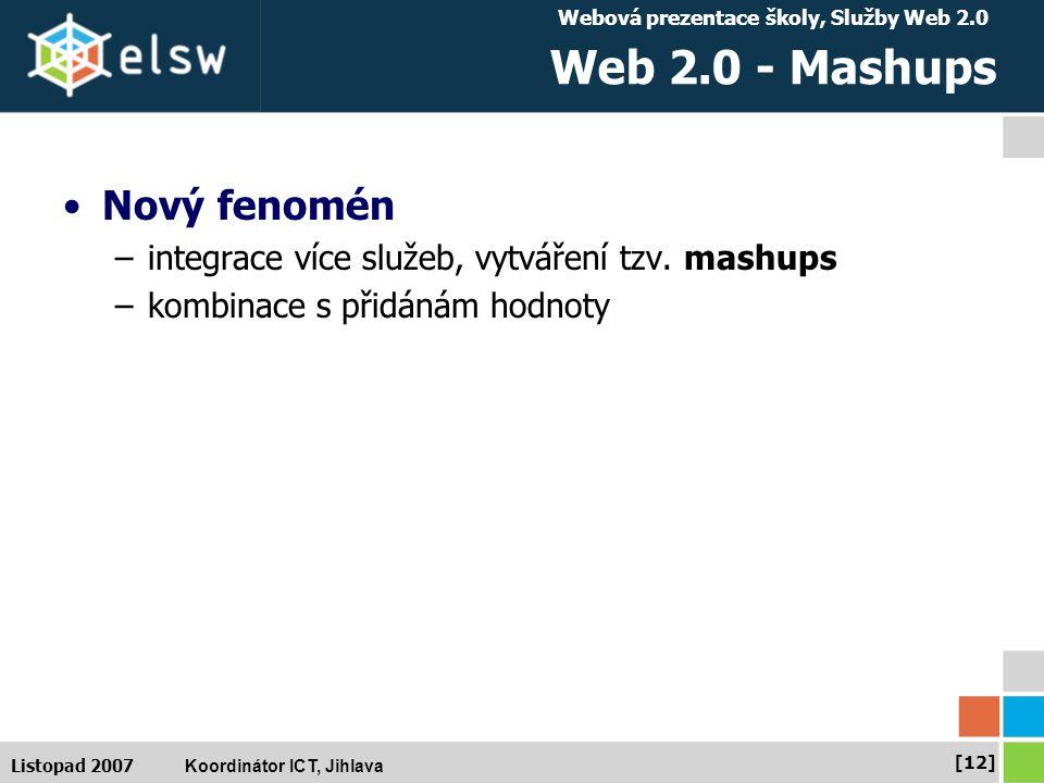 Webová prezentace školy, Služby Web 2.0 Koordinátor ICT, Jihlava [12] Listopad 2007 Web 2.0 - Mashups Nový fenomén –integrace více služeb, vytváření tzv.
