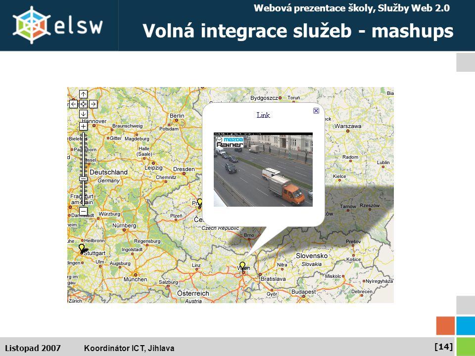 Webová prezentace školy, Služby Web 2.0 Koordinátor ICT, Jihlava [14] Listopad 2007 Volná integrace služeb - mashups