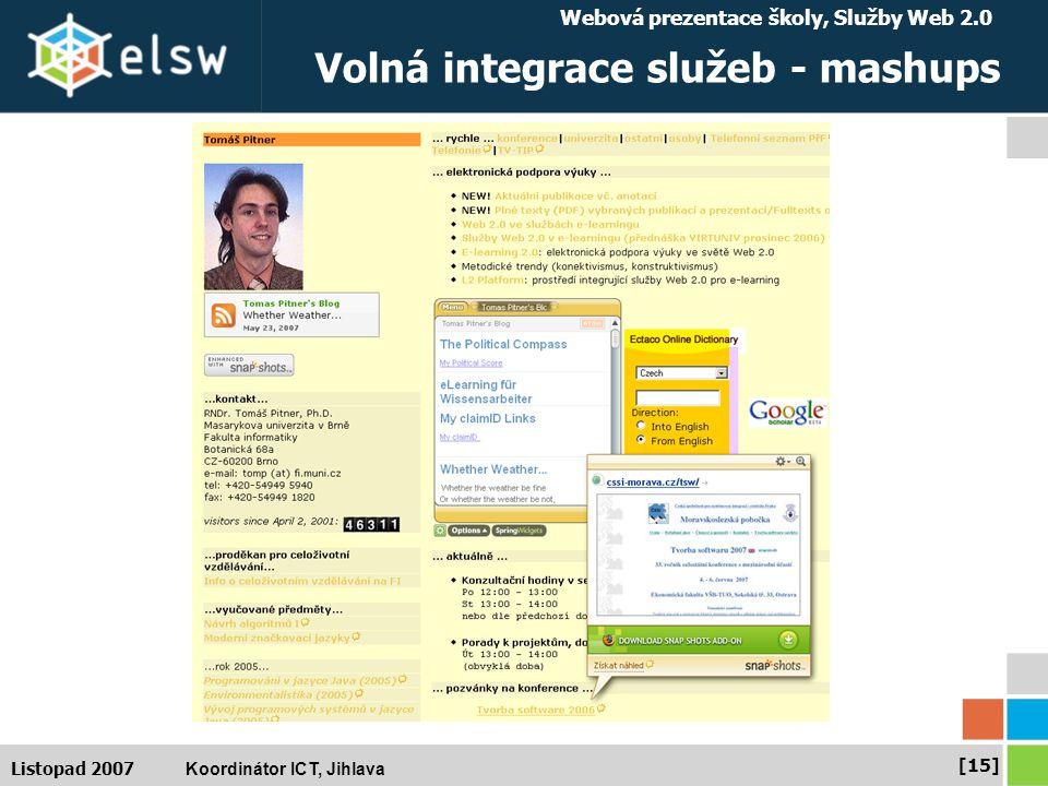 Webová prezentace školy, Služby Web 2.0 Koordinátor ICT, Jihlava [15] Listopad 2007 Volná integrace služeb - mashups