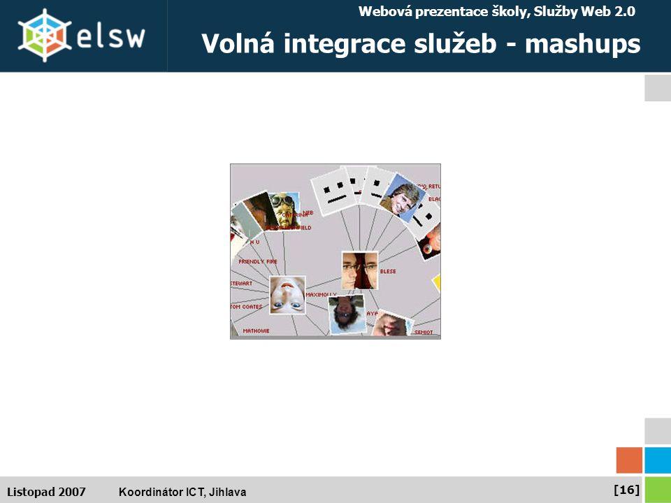 Webová prezentace školy, Služby Web 2.0 Koordinátor ICT, Jihlava [16] Listopad 2007 Volná integrace služeb - mashups