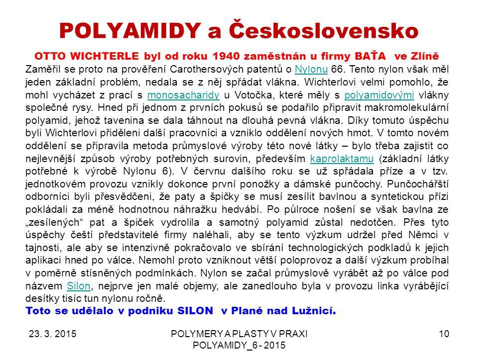 POLYAMIDY a Československo 23.3.