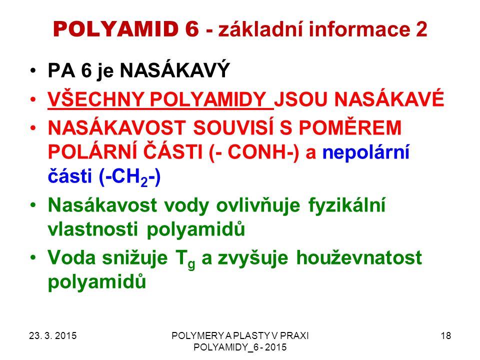 POLYAMID 6 - základní informace 2 PA 6 je NASÁKAVÝ VŠECHNY POLYAMIDY JSOU NASÁKAVÉ NASÁKAVOST SOUVISÍ S POMĚREM POLÁRNÍ ČÁSTI (- CONH-) a nepolární části (-CH 2 -) Nasákavost vody ovlivňuje fyzikální vlastnosti polyamidů Voda snižuje T g a zvyšuje houževnatost polyamidů 23.
