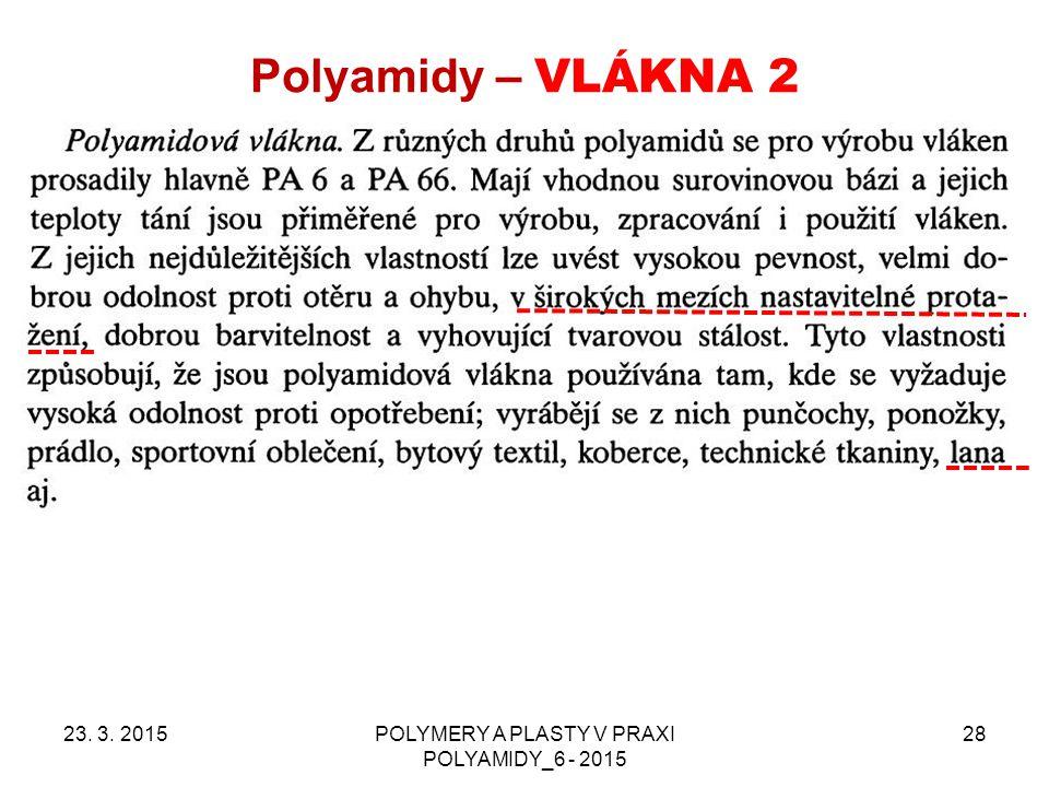 Polyamidy – VLÁKNA 2 23. 3. 2015POLYMERY A PLASTY V PRAXI POLYAMIDY_6 - 2015 28