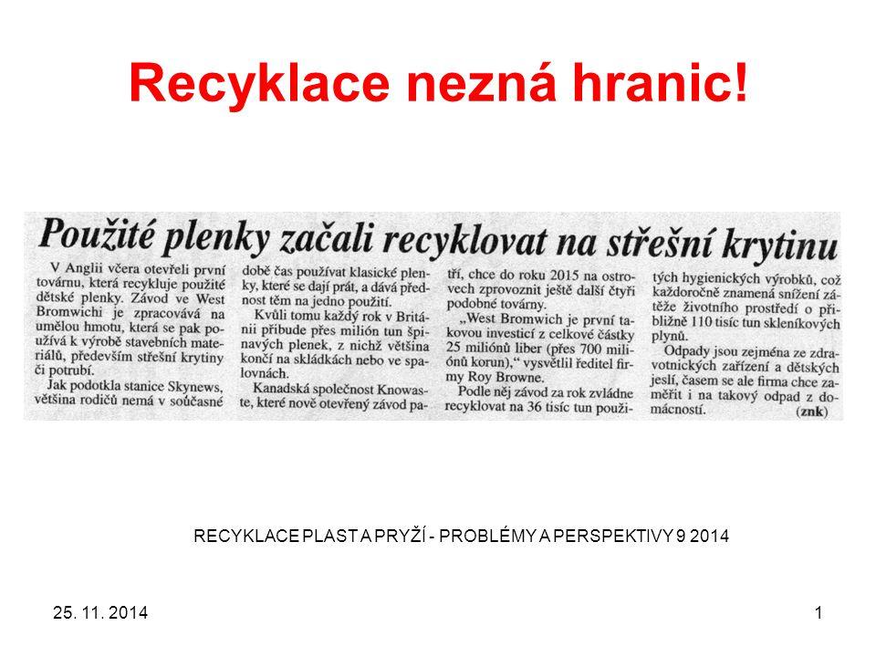 Recyklace nezná hranic! 25. 11. 2014 RECYKLACE PLAST A PRYŽÍ - PROBLÉMY A PERSPEKTIVY 9 2014 1