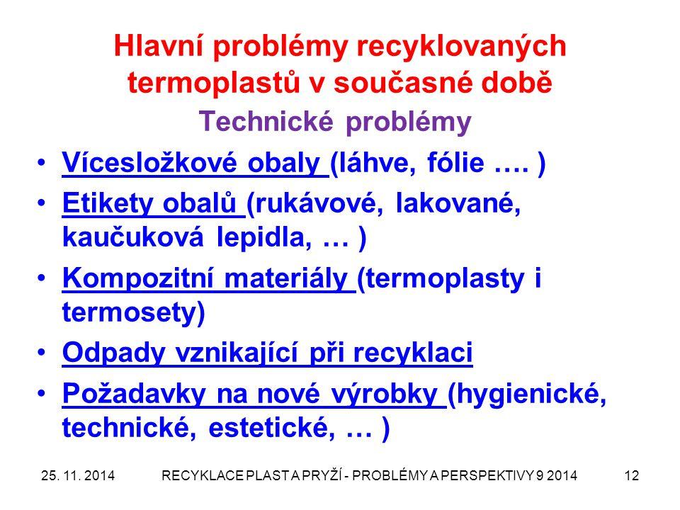 Hlavní problémy recyklovaných termoplastů v současné době Technické problémy Vícesložkové obaly (láhve, fólie …. ) Etikety obalů (rukávové, lakované,