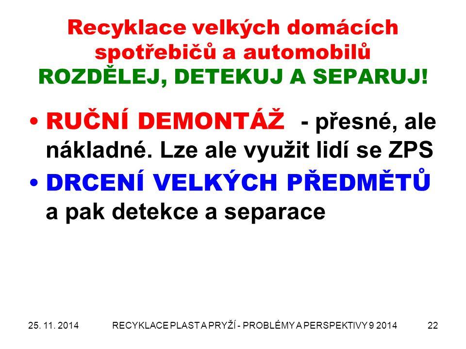 Recyklace velkých domácích spotřebičů a automobilů ROZDĚLEJ, DETEKUJ A SEPARUJ! RUČNÍ DEMONTÁŽ - přesné, ale nákladné. Lze ale využit lidí se ZPS DRCE