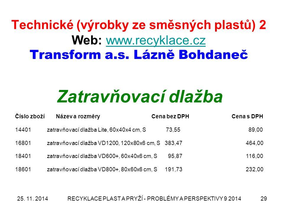 25. 11. 2014RECYKLACE PLAST A PRYŽÍ - PROBLÉMY A PERSPEKTIVY 9 201429 Technické (výrobky ze směsných plastů) 2 Web: www.recyklace.cz Transform a.s. Lá