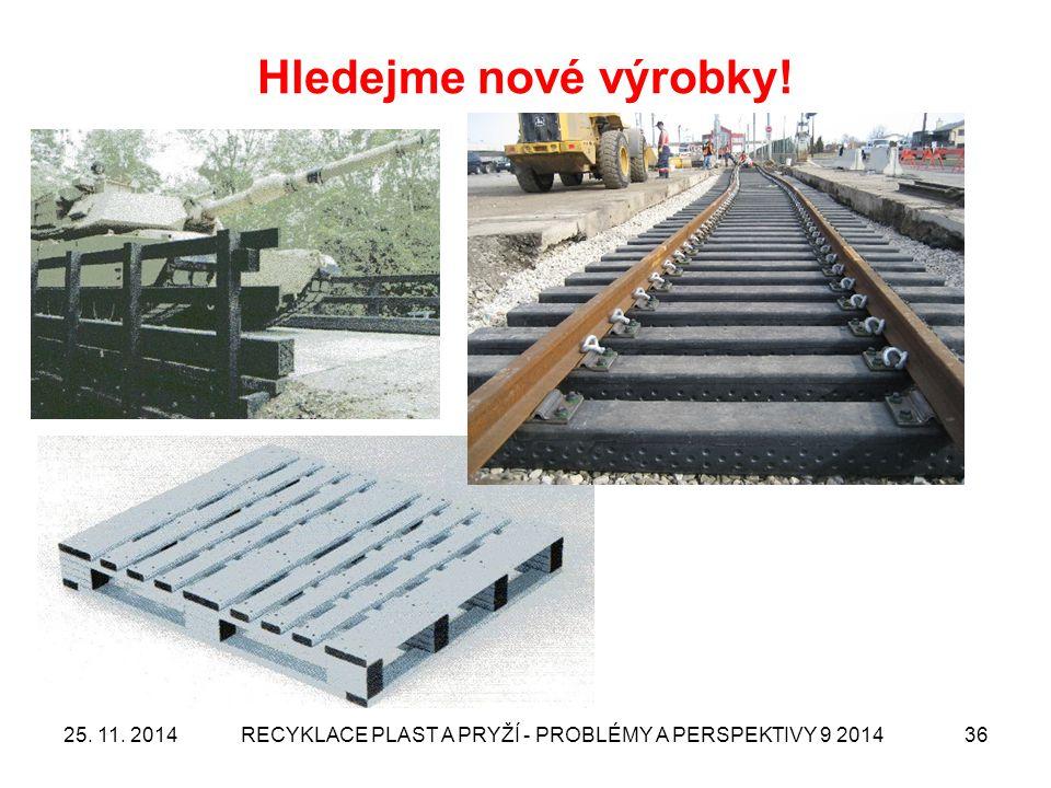 Hledejme nové výrobky! 25. 11. 2014RECYKLACE PLAST A PRYŽÍ - PROBLÉMY A PERSPEKTIVY 9 201436
