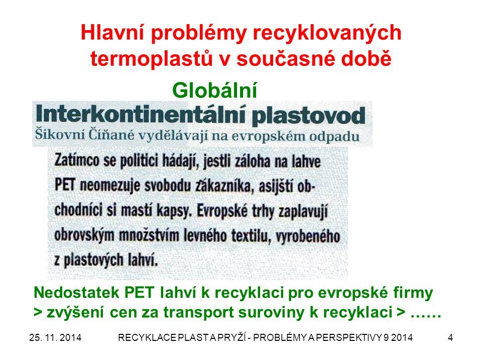 Hlavní problémy recyklovaných termoplastů v současné době 25. 11. 2014RECYKLACE PLAST A PRYŽÍ - PROBLÉMY A PERSPEKTIVY 9 20144 Globální Nedostatek PET