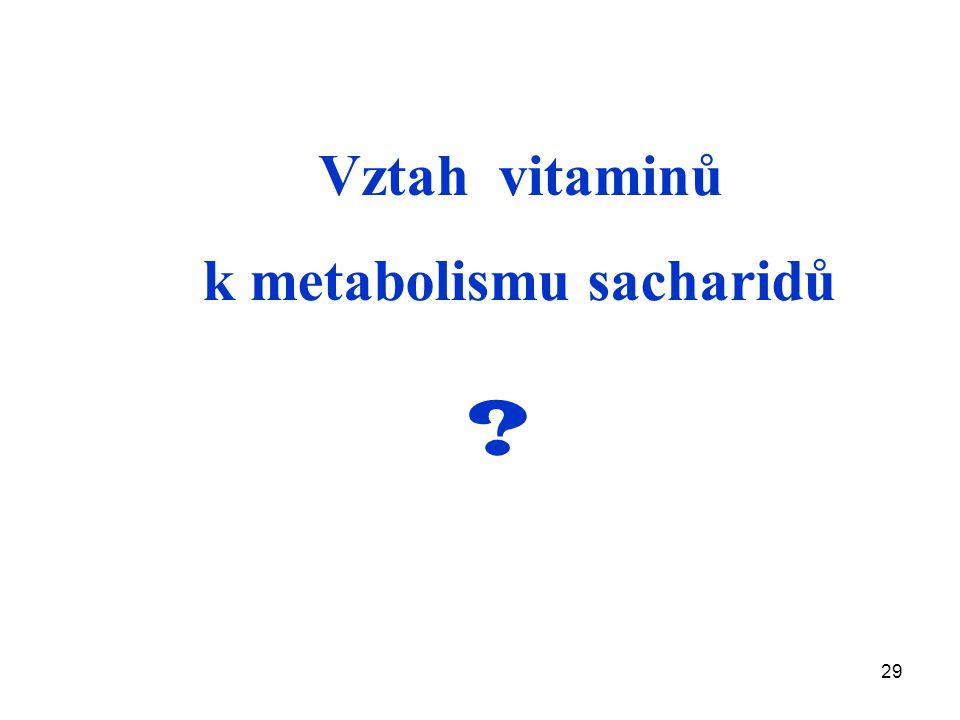 29 Vztah vitaminů k metabolismu sacharidů ?