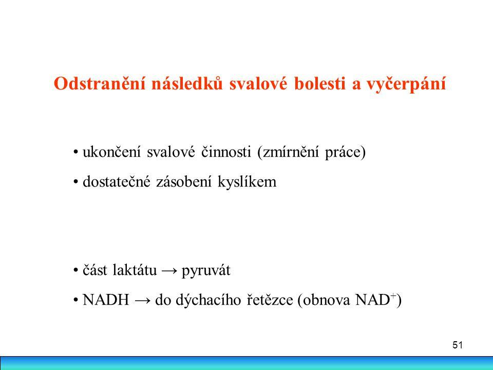 51 ukončení svalové činnosti (zmírnění práce) dostatečné zásobení kyslíkem část laktátu → pyruvát NADH → do dýchacího řetězce (obnova NAD + ) Odstraně