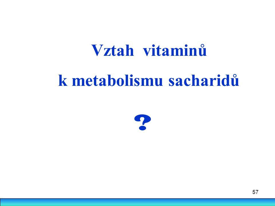57 Vztah vitaminů k metabolismu sacharidů ?