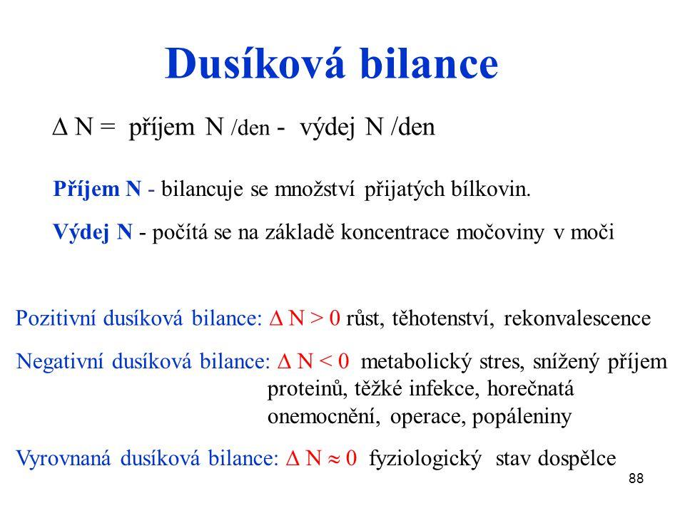 88 Dusíková bilance  N = příjem N /den - výdej N /den Příjem N - bilancuje se množství přijatých bílkovin. Výdej N - počítá se na základě koncentrace