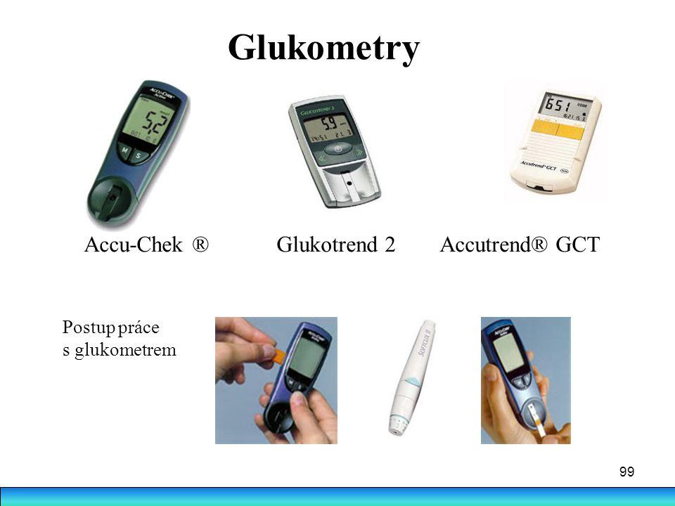 99 Glukometry Accu-Chek ® Glukotrend 2 Accutrend® GCT Postup práce s glukometrem