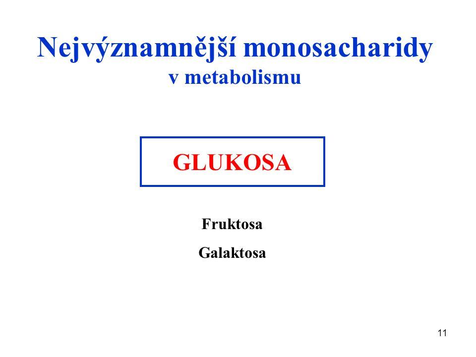 11 Nejvýznamnější monosacharidy v metabolismu GLUKOSA Fruktosa Galaktosa