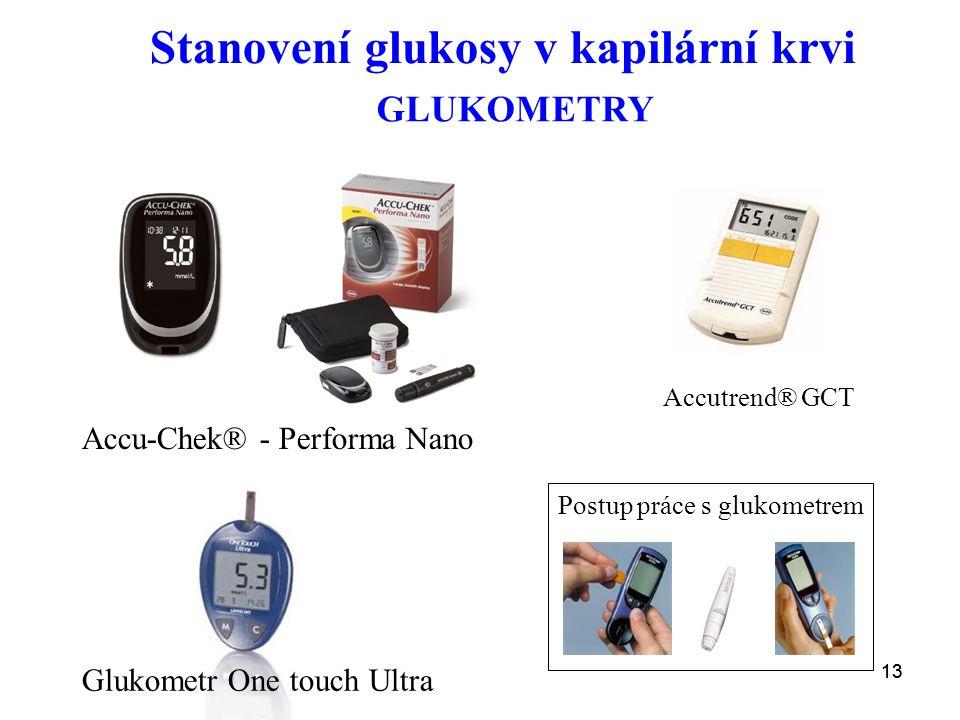 13 Stanovení glukosy v kapilární krvi Accu-Chek® - Performa Nano Glukometr One touch Ultra GLUKOMETRY Accutrend® GCT Postup práce s glukometrem