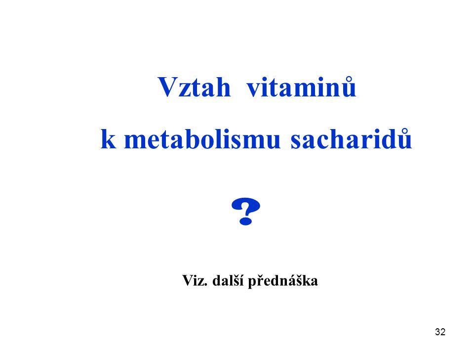 32 Vztah vitaminů k metabolismu sacharidů ? Viz. další přednáška