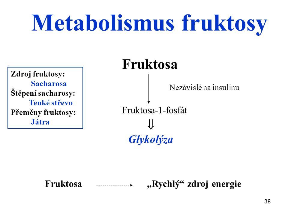 """38 Fruktosa """"Rychlý zdroj energie Fruktosa Fruktosa-1-fosfát Zdroj fruktosy: Sacharosa Štěpení sacharosy: Tenké střevo Přeměny fruktosy: Játra  Glykolýza Nezávislé na insulinu Metabolismus fruktosy"""