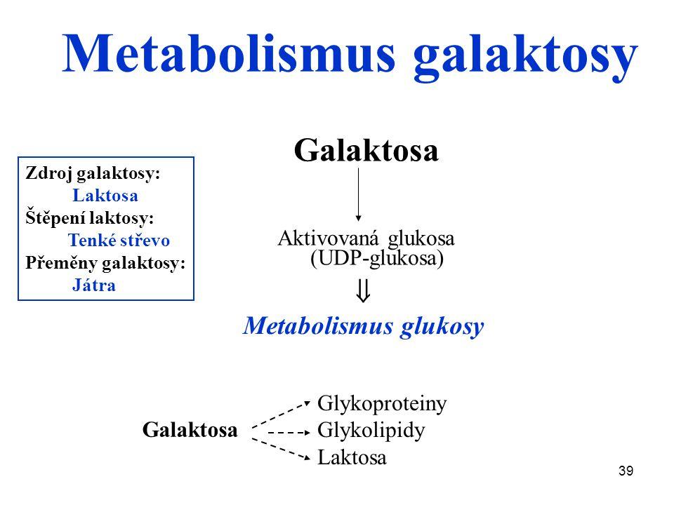39 Zdroj galaktosy: Laktosa Štěpení laktosy: Tenké střevo Přeměny galaktosy: Játra Galaktosa Aktivovaná glukosa (UDP-glukosa)  Metabolismus glukosy Galaktosa Glykoproteiny Glykolipidy Laktosa Metabolismus galaktosy