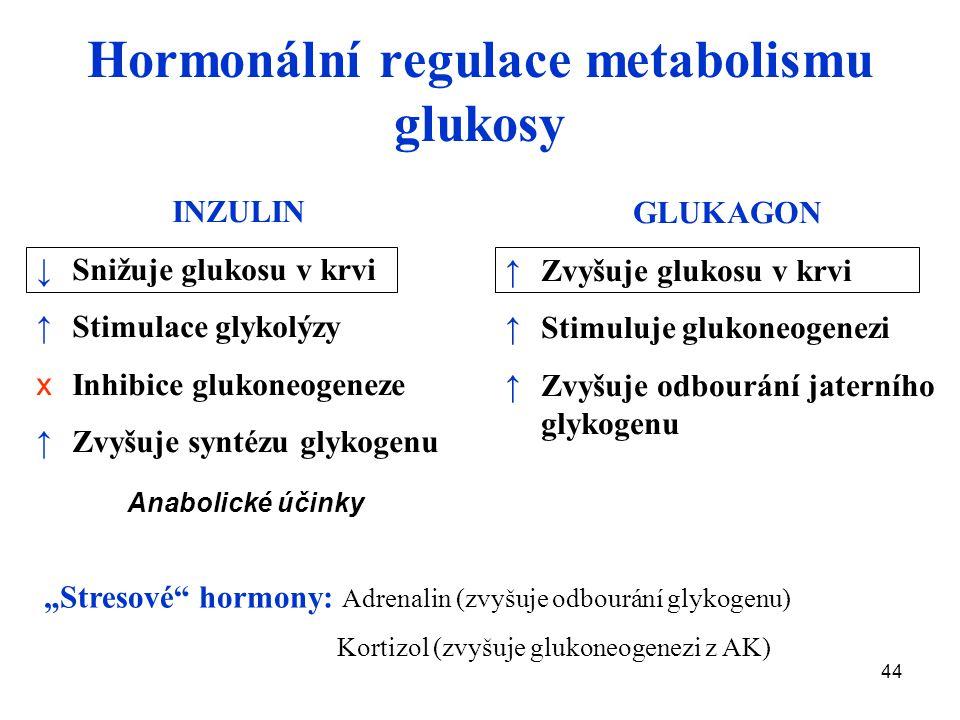 """44 Hormonální regulace metabolismu glukosy INZULIN ↓ Snižuje glukosu v krvi ↑ Stimulace glykolýzy x Inhibice glukoneogeneze ↑ Zvyšuje syntézu glykogenu GLUKAGON ↑Zvyšuje glukosu v krvi ↑Stimuluje glukoneogenezi ↑Zvyšuje odbourání jaterního glykogenu Anabolické účinky """"Stresové hormony: Adrenalin (zvyšuje odbourání glykogenu) Kortizol (zvyšuje glukoneogenezi z AK)"""