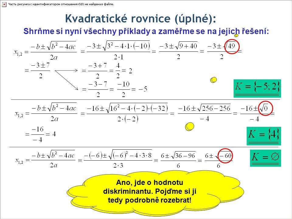 Kvadratické rovnice (úplné): Shrňme si nyní všechny příklady a zaměřme se na jejich řešení: Přijdete na to, na čem závisí řešitelnost a počet kořenů kvadratické rovnice.