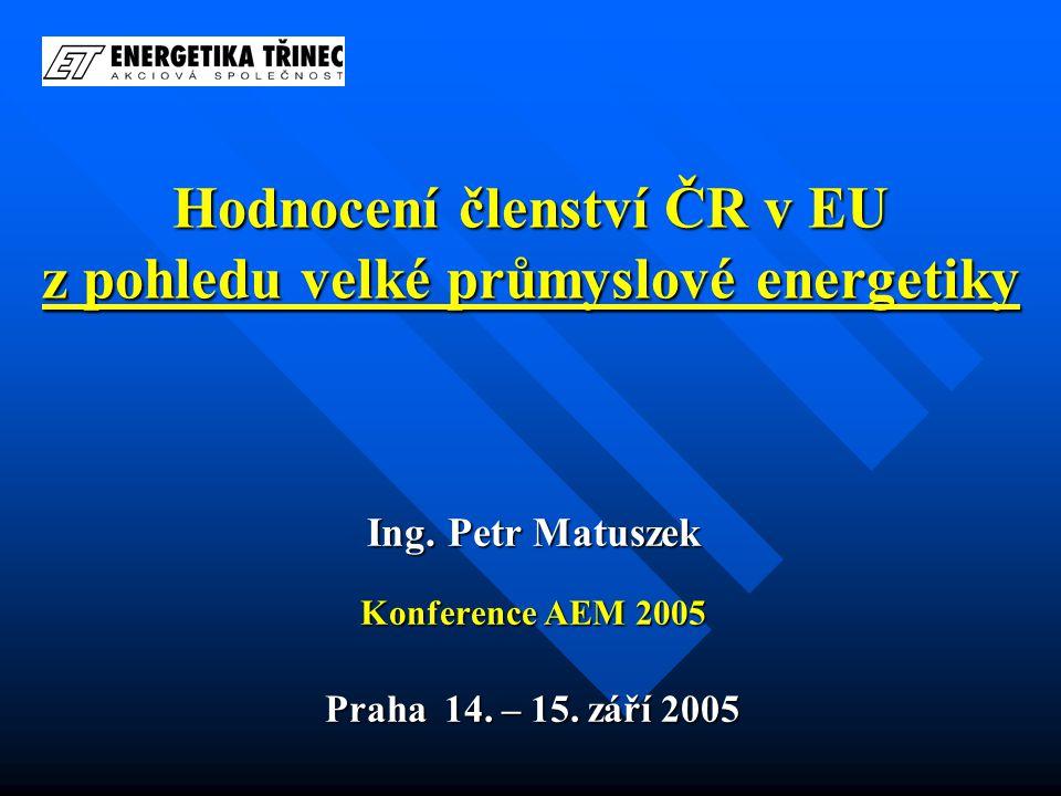 Hodnocení členství ČR v EU z pohledu velké průmyslové energetiky Ing.
