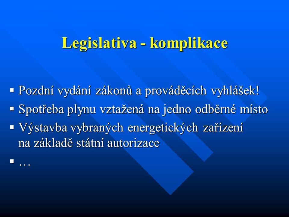 Legislativa - komplikace  Pozdní vydání zákonů a prováděcích vyhlášek.