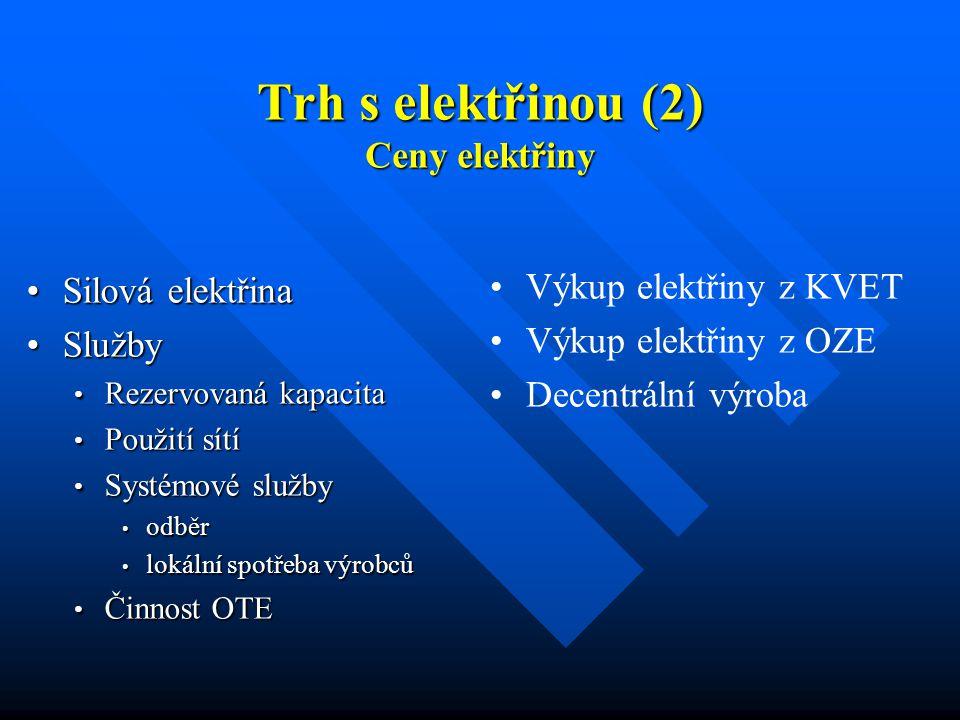 Trh s elektřinou (2) Ceny elektřiny Silová elektřinaSilová elektřina SlužbySlužby Rezervovaná kapacita Rezervovaná kapacita Použití sítí Použití sítí Systémové služby Systémové služby odběr odběr lokální spotřeba výrobců lokální spotřeba výrobců Činnost OTE Činnost OTE Výkup elektřiny z KVET Výkup elektřiny z OZE Decentrální výroba