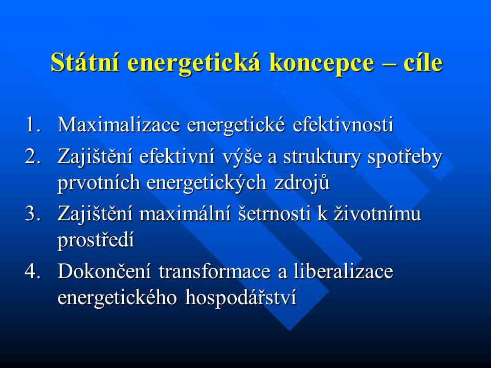 Státní energetická koncepce – nástroje  Legislativní opatření  Liberalizace trhu s elektřinou a plynem  Ochrana konečných zákazníků  Obnovitelné zdroje energie  Podpora využití KVET  Autorizace na výstavbu výroben elektřiny a zdrojů tepla  Řízení energetiky při krizových stavech  Ekologizace daňové reformy  ………  Státní programy podpory a útlumu