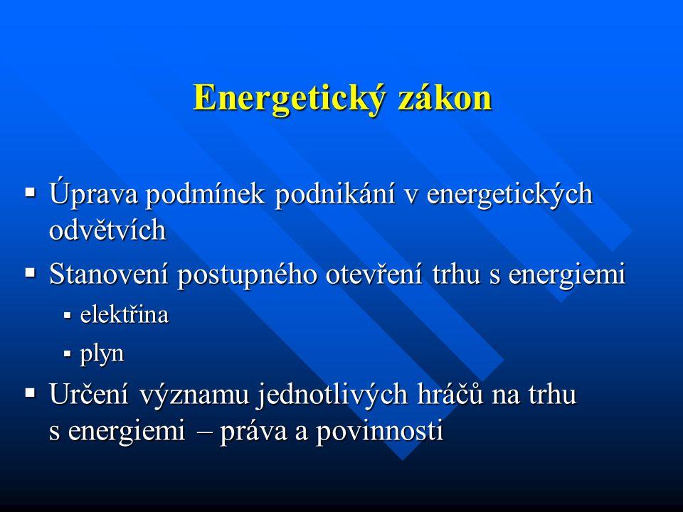 Sekundární legislativa  Vyhláška, kterou se stanoví pravidla pro organizování trhu s elektřinou  Vyhláška o způsobu výkupu elektřiny z obnovitelných zdrojů a podpoře výroby elektřiny z DEZ a kogenerace  Vyhláška, kterou se stanoví pravidla pro organizování trhu s plynem  Cenová rozhodnutí ERÚ – elektřina, plyn, teplo  Pravidla provozu DS, LDS  … … …