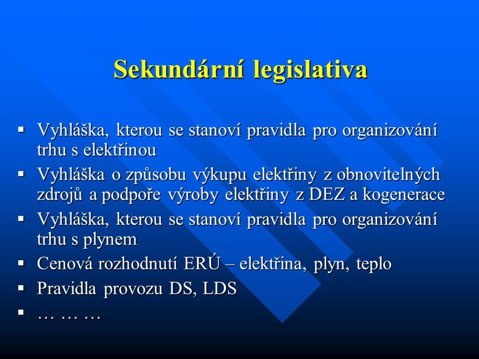 Účastníci trhu s elektřinou a plynem  MPO – legislativa  ERÚ – ochrana konečných spotřebitelů __________________________________________________________________________ __________________________________________________________________________  ČEPS, TRANSGAS  Provozovatelé podzemních zásobníků plynu  Výrobci  Distribuční společnosti - regionální a lokální  Obchodníci  Zákazníci - oprávnění a chránění  OTE, Bilanční centrum