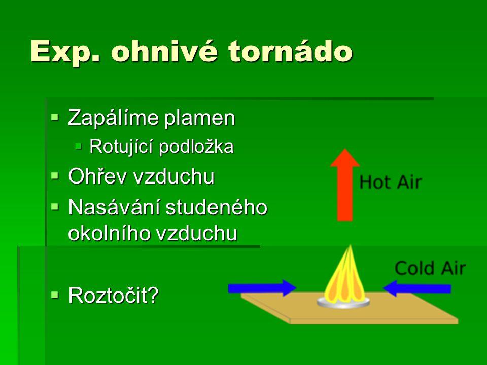 Exp. ohnivé tornádo  Zapálíme plamen  Rotující podložka  Ohřev vzduchu  Nasávání studeného okolního vzduchu  Roztočit?
