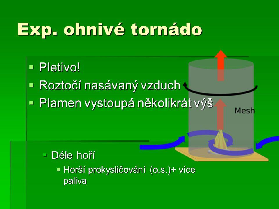 Exp. ohnivé tornádo  Pletivo!  Roztočí nasávaný vzduch  Plamen vystoupá několikrát výš  Déle hoří  Horší prokysličování (o.s.)+ více paliva
