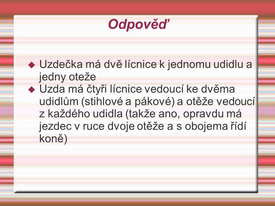 Odpověď  Uzdečka má dvě lícnice k jednomu udidlu a jedny oteže  Uzda má čtyři lícnice vedoucí ke dvěma udidlům (stihlové a pákové) a otěže vedoucí z