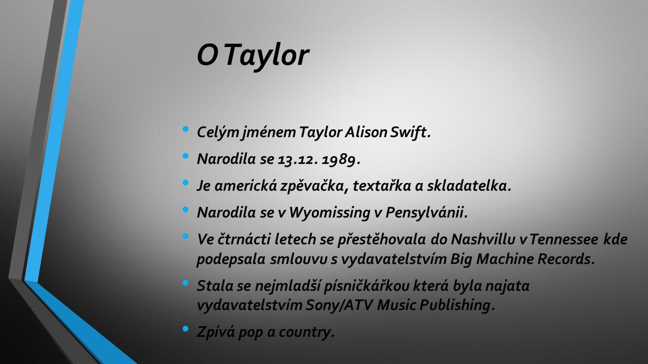 Celým jménem Taylor Alison Swift. Narodila se 13.12. 1989. Je americká zpěvačka, textařka a skladatelka. Narodila se v Wyomissing v Pensylvánii. Ve čt
