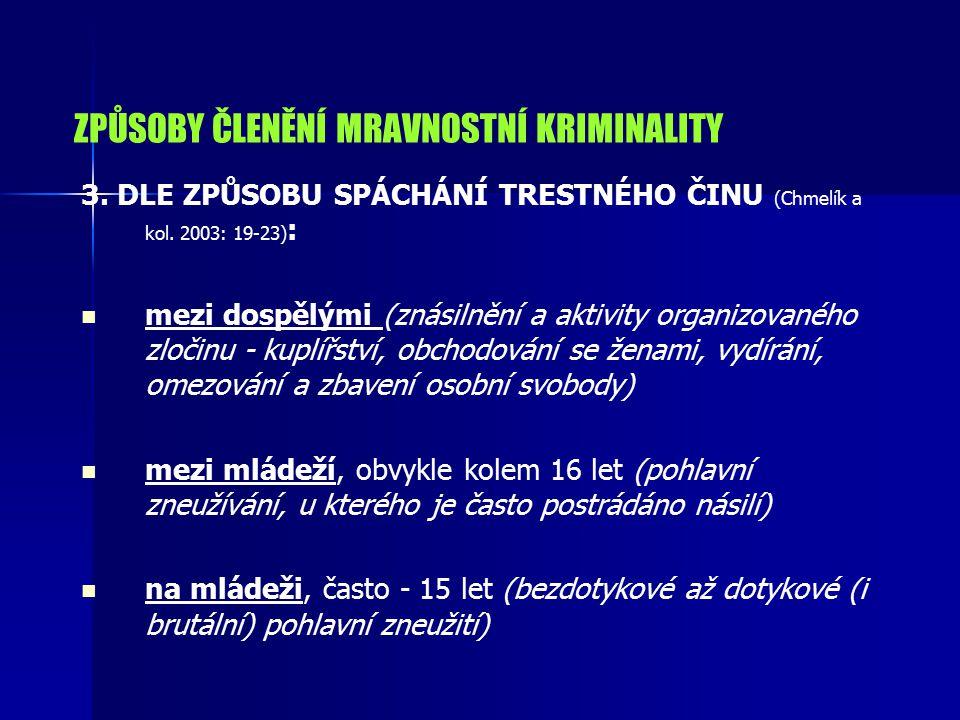 ZPŮSOBY ČLENĚNÍ MRAVNOSTNÍ KRIMINALITY 3.DLE ZPŮSOBU SPÁCHÁNÍ TRESTNÉHO ČINU (Chmelík a kol.