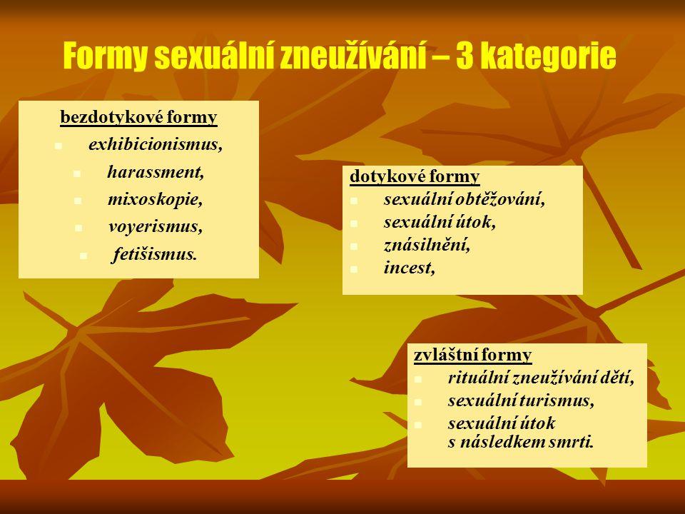 Formy sexuální zneužívání – 3 kategorie bezdotykové formy exhibicionismus, harassment, mixoskopie, voyerismus, fetišismus. dotykové formy sexuální obt