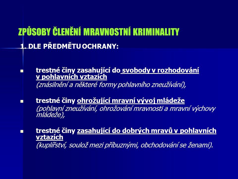 ZPŮSOBY ČLENĚNÍ MRAVNOSTNÍ KRIMINALITY 1. DLE PŘEDMĚTU OCHRANY: trestné činy zasahující do svobody v rozhodování v pohlavních vztazích (znásilnění a n