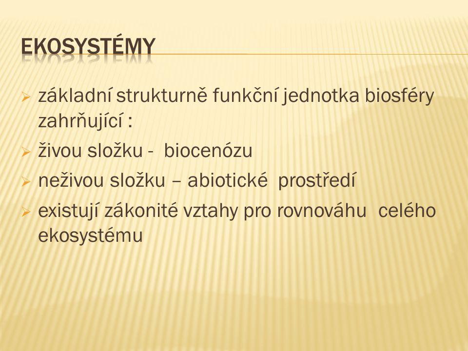  základní strukturně funkční jednotka biosféry zahrňující :  živou složku - biocenózu  neživou složku – abiotické prostředí  existují zákonité vztahy pro rovnováhu celého ekosystému