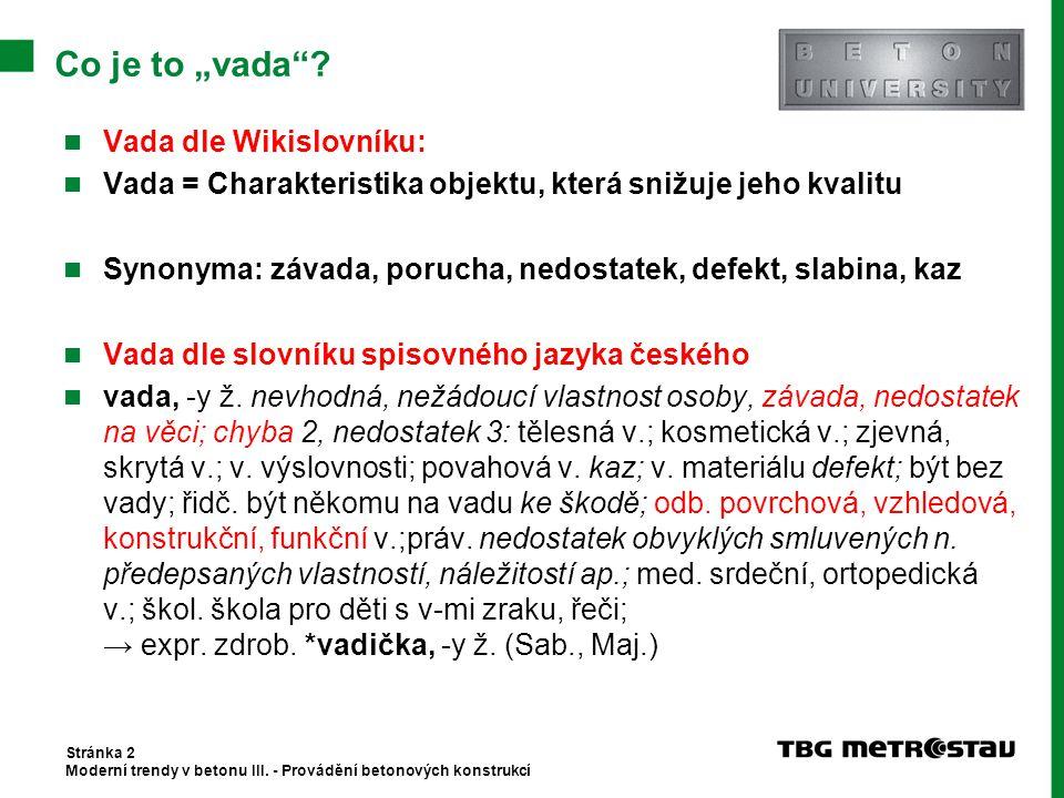 "Co je to ""vada""? Vada dle Wikislovníku: Vada = Charakteristika objektu, která snižuje jeho kvalitu Synonyma: závada, porucha, nedostatek, defekt, slab"